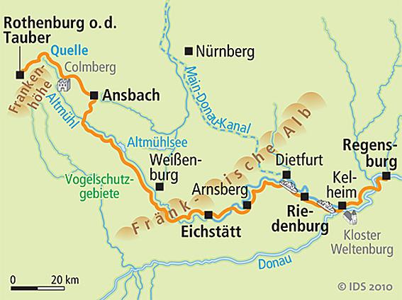 altmühlradweg karte Altmühl Radweg Karte   Reise Service – Velociped