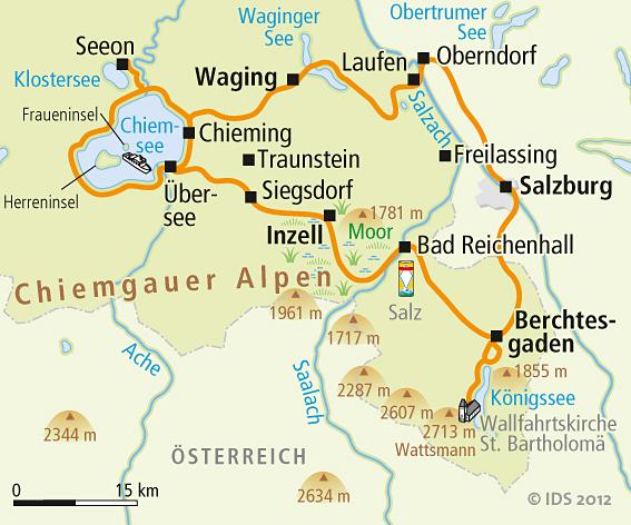 Chiemsee Karte Region.Chiemsee Radweg Karte Reise Service Velociped