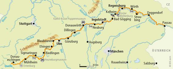 Deutsche Donau Radweg Karte Velociped