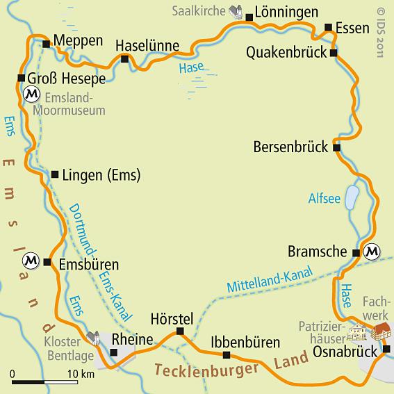 Fahrradwege Ostfriesland Karte.Hase Ems Radweg Karte Rundtour Karte Velociped