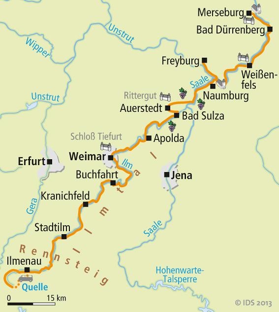 Saale Radweg Karte.Ilmtal Saale Radweg Karte Reise Service Velociped