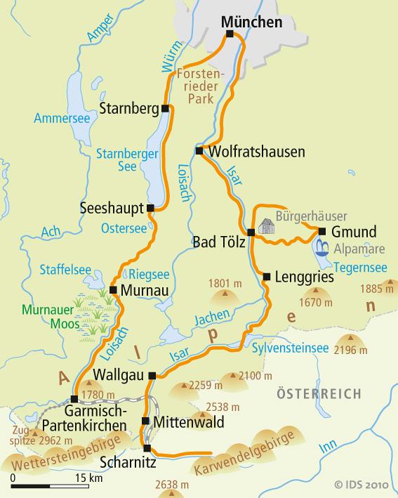 Munchner Seen Radweg Karte Reise Service Velociped