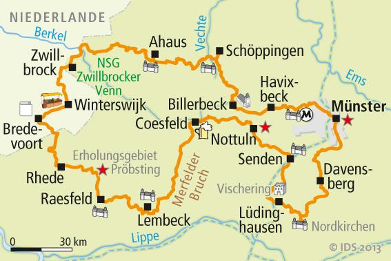 Fahrradwege Ostfriesland Karte.Münsterland Radweg Karte Velociped