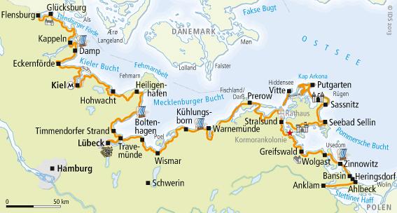 Kieler Bucht Karte.Ostseeküstenradweg Karte Reise Service Velociped