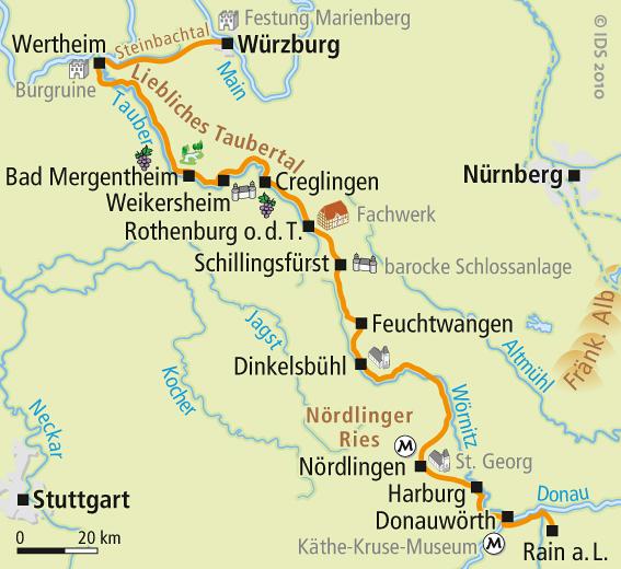 Karte Würzburg Und Umgebung.Romantische Straße Radweg Karte Velociped