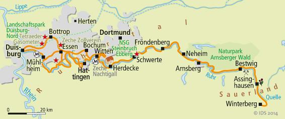 Karte Ruhrgebiet.Ruhrradweg Karte Radweg Karten Velociped