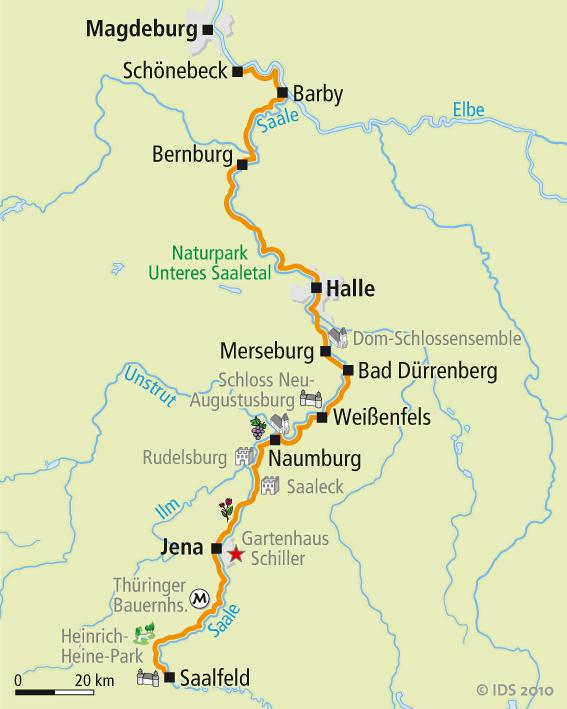 verlauf der saale karte Saale Radweg Karte   Reise Service – Velociped verlauf der saale karte
