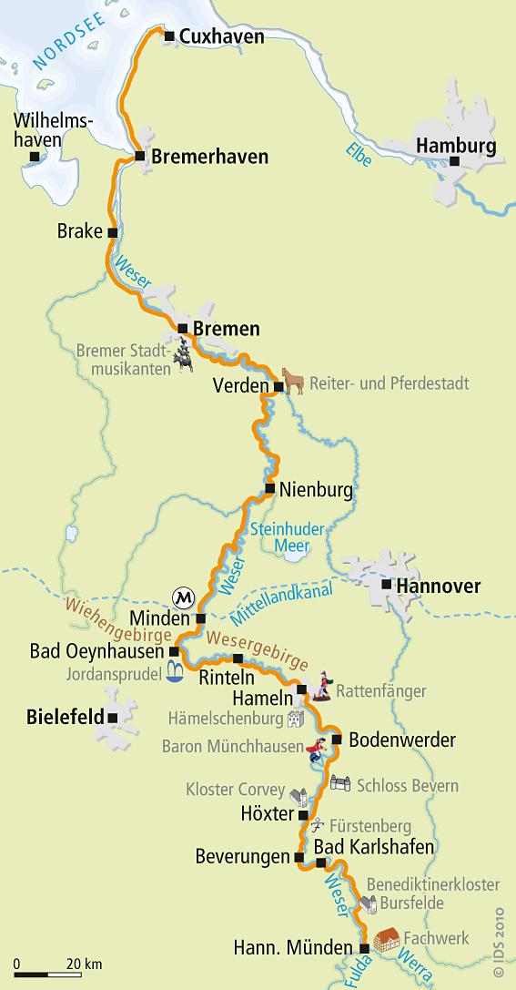 Fahrradwege Ostfriesland Karte.Weser Radweg Karte Reise Service Velociped