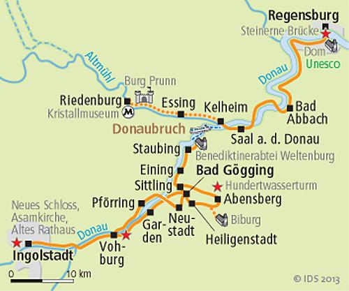 Karte Regensburg Altstadt.Donau Altmuhl Sternradtour Altmuhlradweg Radreise Bayern