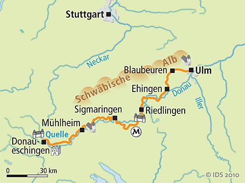 German Danube Bike Trail Source To Ulm Bike Tour Days Velociped - Germany map ulm
