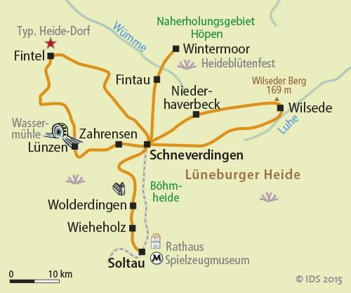 Karte Lüneburger Heide Und Umgebung.Lüneburger Heide Sternradtour Radreise Radurlaub Velociped