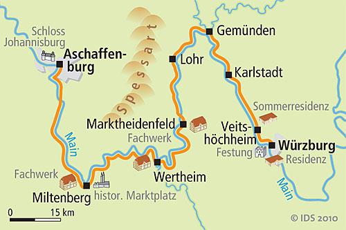 Karte Würzburg Und Umgebung.Main Radweg Würzburg Aschaffenburg 5 Tage Radreise Radtour Velociped