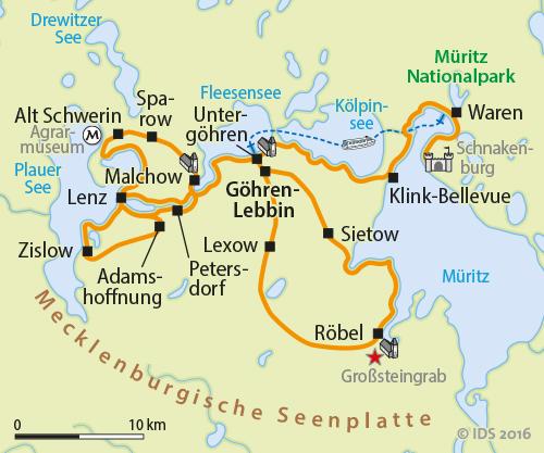 Radweg Mecklenburgische Seenplatte Karte.Sternradtour Mecklenburg Müritz Plauer See Kölpinsee Radreise