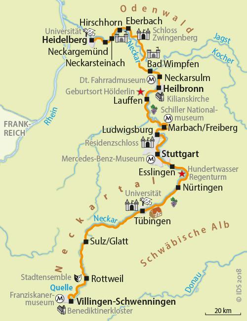 Neckarradweg Karte.Neckar Bike Trail From The Spring To Heidelberg 10 Days Velociped