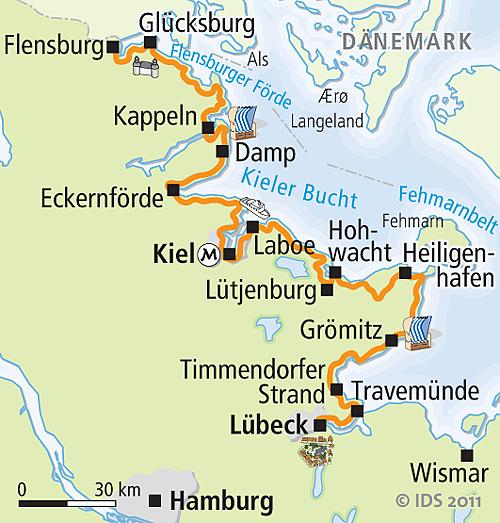 Ostseeradweg Lübeck Stralsund Karte.Ostsee Radweg Flensburg Lübeck Radreise Radurlaub Velociped