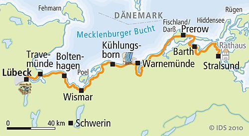 Ostseeradweg Lübeck Stralsund Karte.Ostsee Radweg Lübeck Stralsund Radreise Radurlaub Velociped