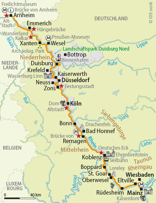 RhineCycle track from Mainz till Arnheim Netherlands Individual