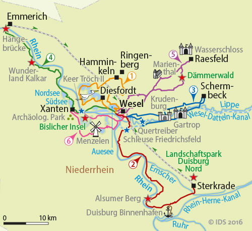 Karte Niederrhein.Niederrhein Sternradtour Radreise Niederrhein Radweg Radurlaub