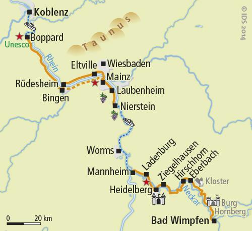 Cartes Villes Rhin Romantique