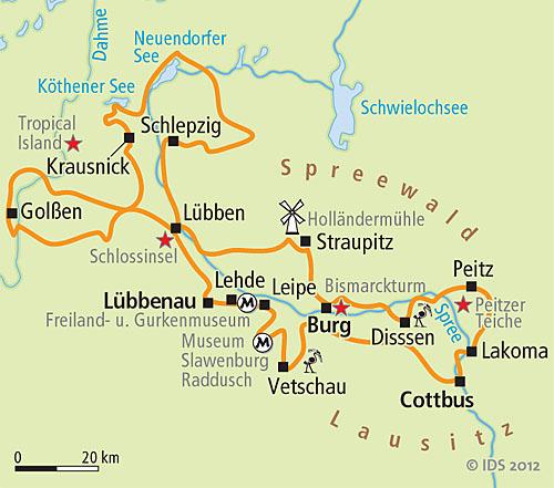 Karte Spreewald Lubbenau.Spreewald Round Trip Velociped