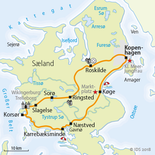 Dänemark Nordsee Karte.Dänemark Rundreise Seeland Radreise Radurlaub Velociped