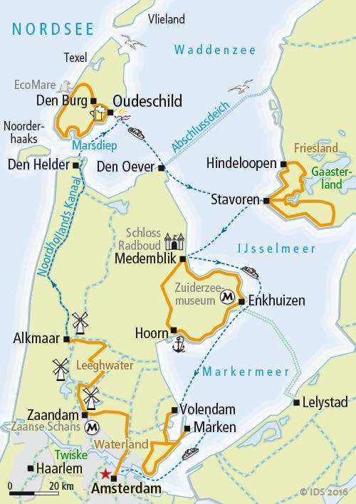 Niederlande Ijsselmeer Karte.Holland Nordroute Rad Schiff Ms De Holland Velociped