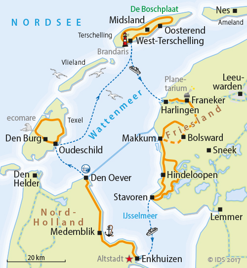 holland inseln karte Hollands Inseln   Rad & Segeltörn   Radurlaub 8 Tage – Velociped