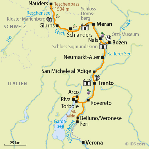 Etsch bike trail Nauders Verona Bike tour South Tyrol Velociped