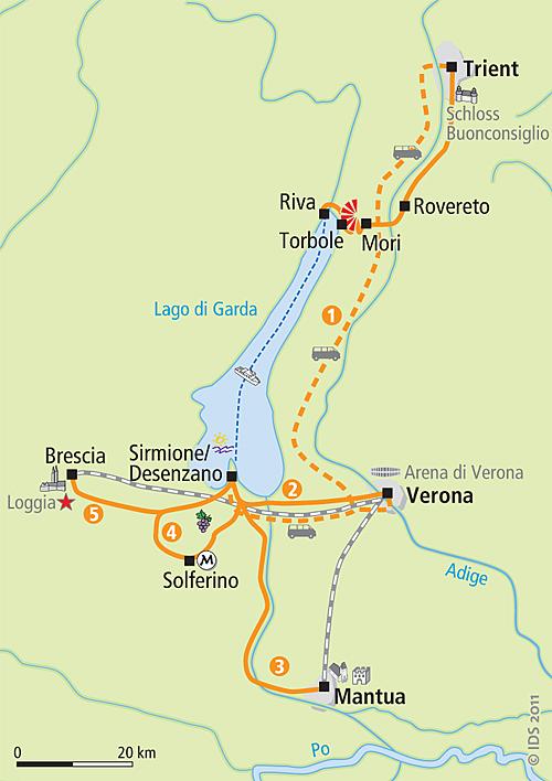 gardasee rovereto karte Lake Garda radial tour based in one Hotel 4 stars   Bike tour