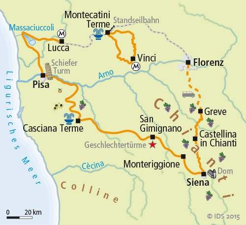 Toskana Karte Deutsch.Toskana Individuell Radtour Bis Florenz Velociped