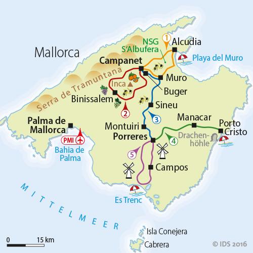 Playa De Muro Karte.Majorca Radial Tour Individual Tour 7 Days Velociped