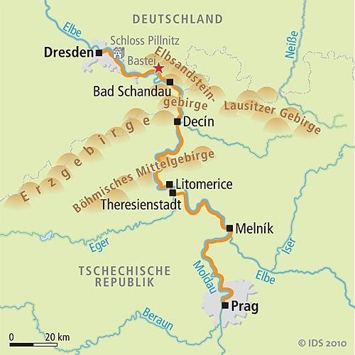 Prag Karte Tschechien.Prag Dresden Radweg An Moldau Und Elbe Velociped